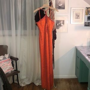 Tangerine Keyhole Beaded Gown